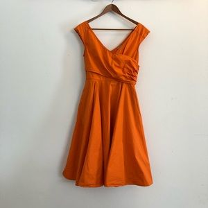 Fit and Flare Orange Full Dress